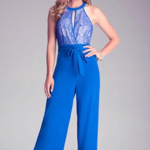 a21da474904 bebe Pants | Womens Blue Lace Wide Leg Jumpsuit | Poshmark